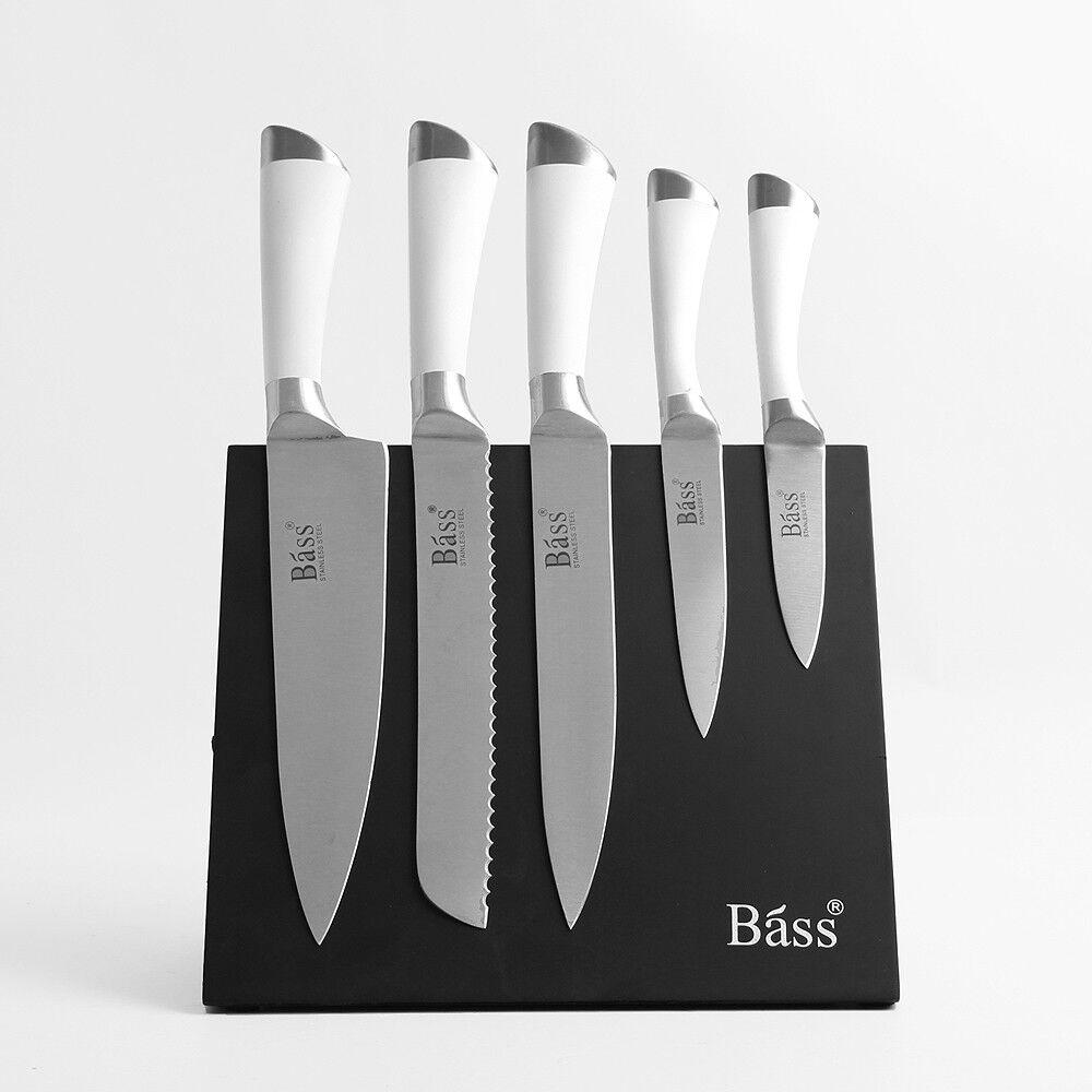 Bass 5Pcs Chef magnétique Couteau de Cuisine Set en acier inoxydable Cook Fruits Trancheuse