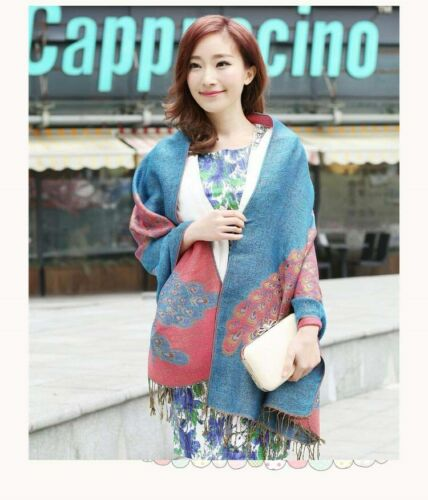 12 Discount Scarves retro paisley peacock wholesale pashmina shawls US SELLER