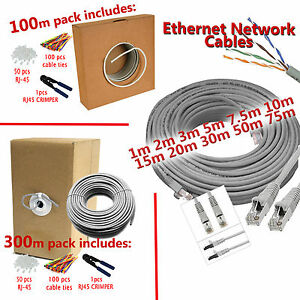 cat6 ethernet network cable 50m 75m 100m 300m grey. Black Bedroom Furniture Sets. Home Design Ideas