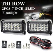2x 7Inch 90W LED Work Light Bar Spot Driving Fog Lamp Floodlight IP68 +Cable 12V