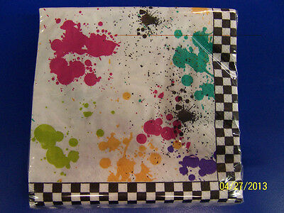 80's Decades Splattered Paintball Checkerboard Retro Party Beverage Napkins
