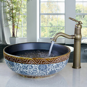 Blue And White Vessel Sink : ... -Hand-Painted-Blue-And-White-Porcelain-Vessel-Sink-With-Retro-Faucet