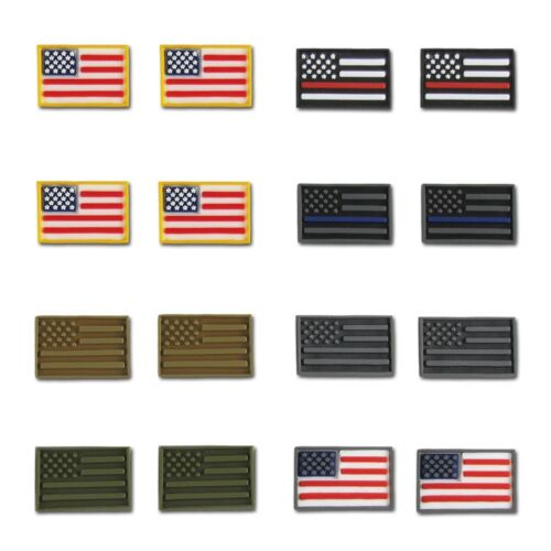 RapDom USA Flag Tactical Micro Patches 3 D Layered H/&L Hook /& Loop-Back 16 Pack
