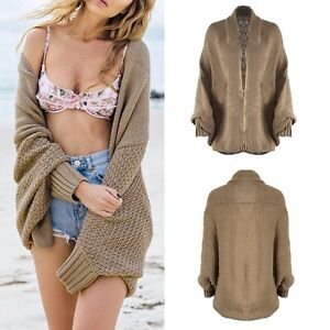 Women-Oversized-Batwing-Sleeve-Knitted-Sweater-Tops-Loose-Cardigan-Coat