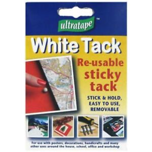 White Sticky Re-usable Tack (Blu Blue Tac) Stick & Fix DIY Posters Schools