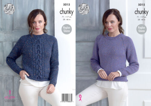 King Cole Ladies Chunky Knitting Pattern Plain or Cable Raglan Sweater 5015