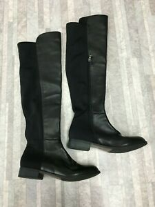 $260 CATHERINE MALANDRINO TALLIE Pasta Faux Pearl Over The Knee Boots Black