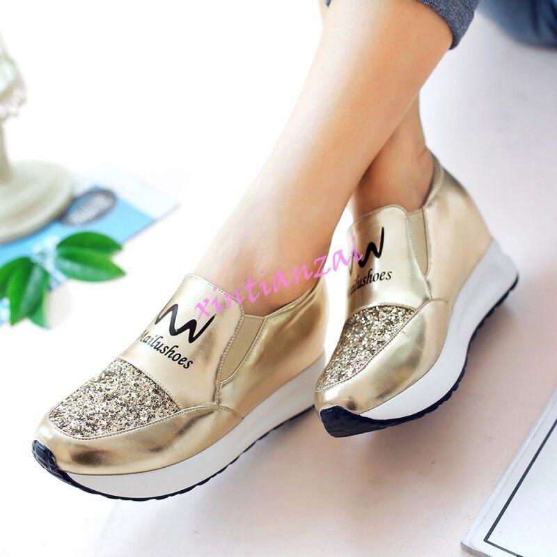 Fashion Gold Womens Sneakers Athletic Tennis Shiny Shoes Rhinestone Wedge Shoes