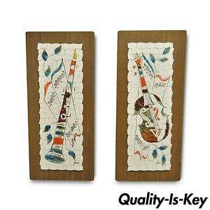 Details About Pair Vintage Andre Mid Century Modernist Abstract Music Instrument Tile Wall Art