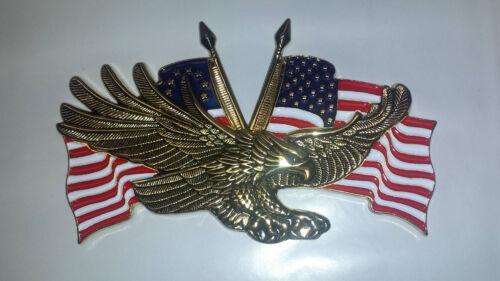 Honda Goldwing 1200 1500 1800 3 x 1-3//4 METAL EAGLE w//USA FLAG EMBLEM
