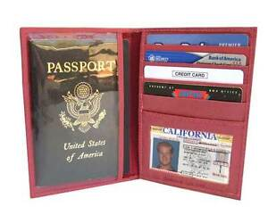 PINK World PASSPORT COVER Travel Leather ID Window Card DELUX Case Wallet 861