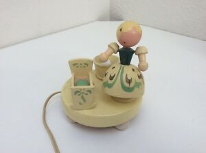 Vintage 1950's Wood Dutch Mommy And Baby Nursery Night Light