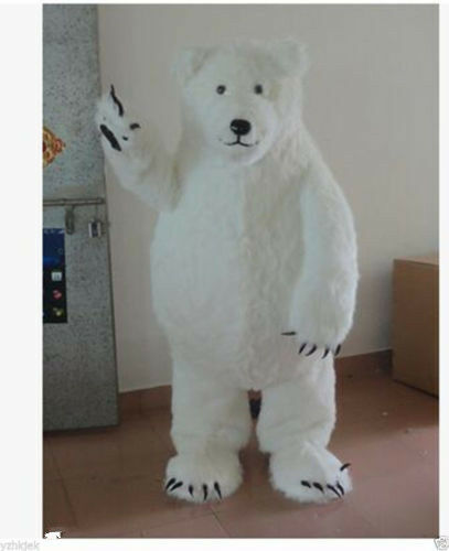 Polar Bear Mascot Costume Suit Halloween Animal Party Fancy Dress Adults Outfit@