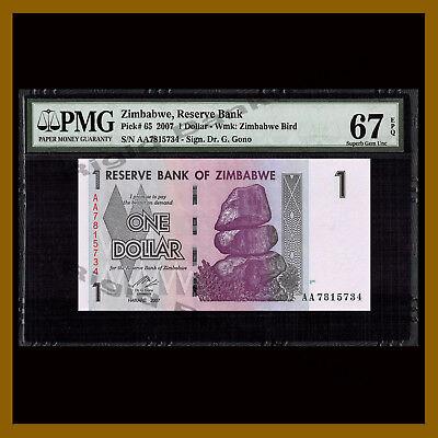 Zimbabwe 20 Dollars 2007 Pick 68 UNC Uncirculated Banknote