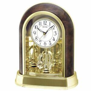 Rhythm-Contemporary-Wood-Effect-Swarovski-Pendulum-Arched-Case-Mantel-Clock