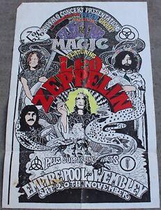 Vintage Led Zeppelin Electric Magic Concert Show Poster Wembley Empire Pool 1971 Ebay