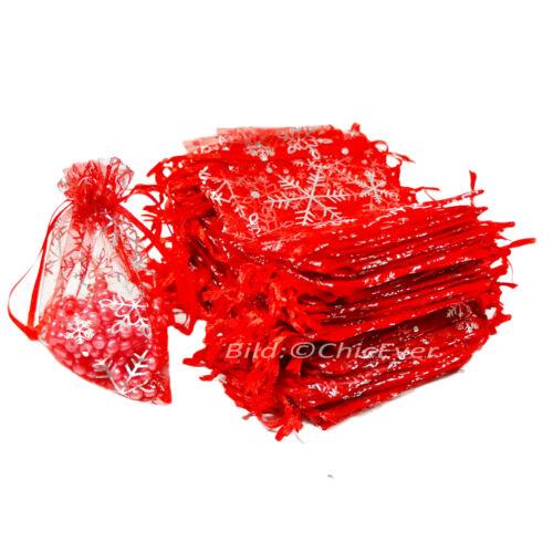 50x Schmuckbeutel 9x12cm Organza Säckchen Weihnachten Schneeflocken rot silber