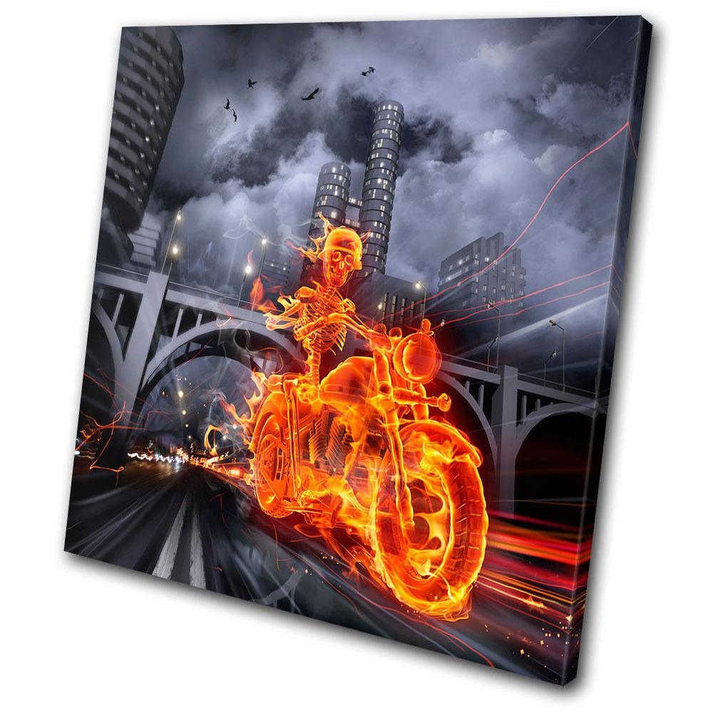Transportation Flaming Motorcycle SINGLE Leinwand Wand Kunst Bild drucken