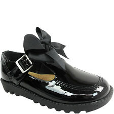 7b27da46884 GIRLS KIDS LADIES FLAT LOW LOAFERS DOLLY SCHOOL SHOES SIZE BOW PUMPS WORK T  BAR