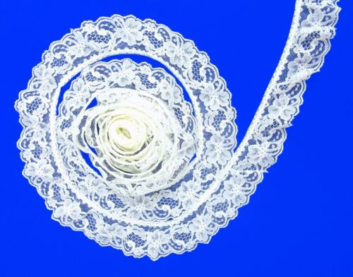IVORY~2 Inch Wide Ruffled Floral Lace Trim~By 5 Yards