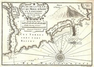 Antique-map-Plan-de-Ville-et-du-Mole-D-039-Agde-en-Languedoc
