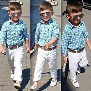 Toddler KIds Baby Boys Clothes Shirt + Pants Outfits Set Party Dress Suit 2