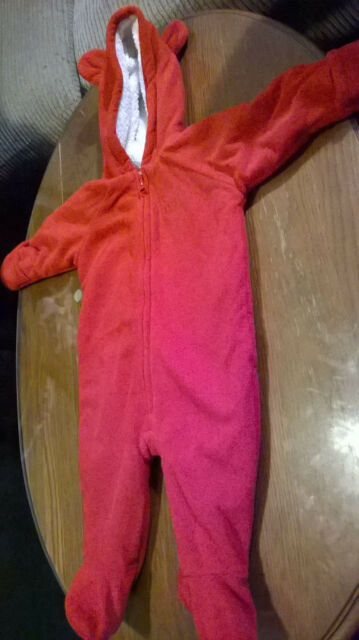 c8b4291a51b9 Old Navy Baby Bear Red Winter Bunting Fleece Snowsuit One Piece 3-6 ...