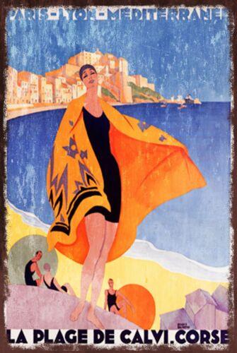 holiday Travel Paris Lyon Mediterranean Vintage Advert Retro Metal Sign Plaque