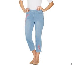 Belle Kim Gravel Flexibelle Cuffed Jeans Light Wash 6 NEW A345862