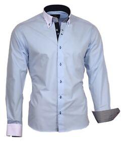 Camisa-manga-larga-camisa-viga-reticulada-de-Luxe-86001-BUTTON-DOWN-azul