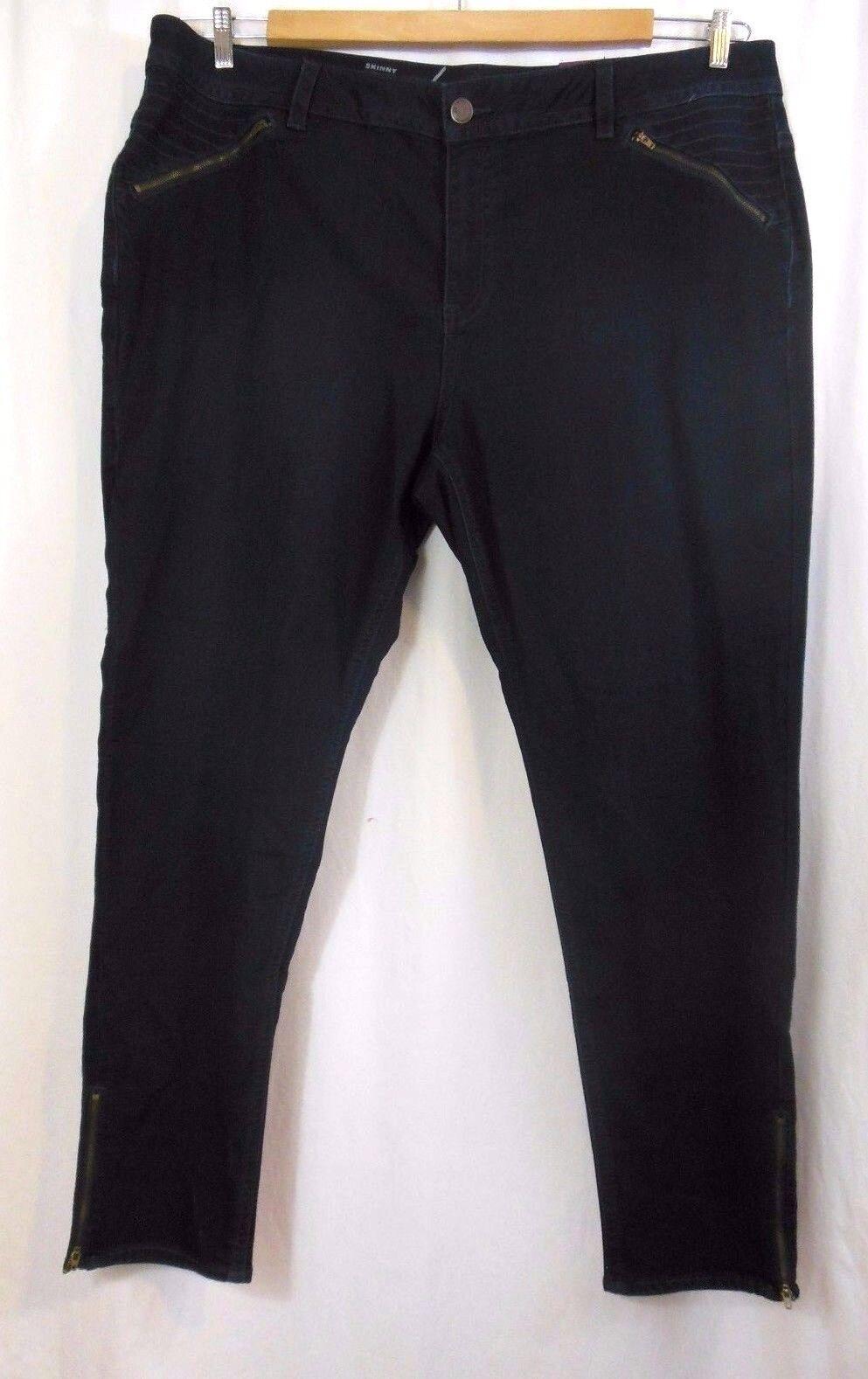 Lane Bryant Skinny Jeans 26 Stretch Dark Wash Ankle Side Zipper Detail NEW NWT