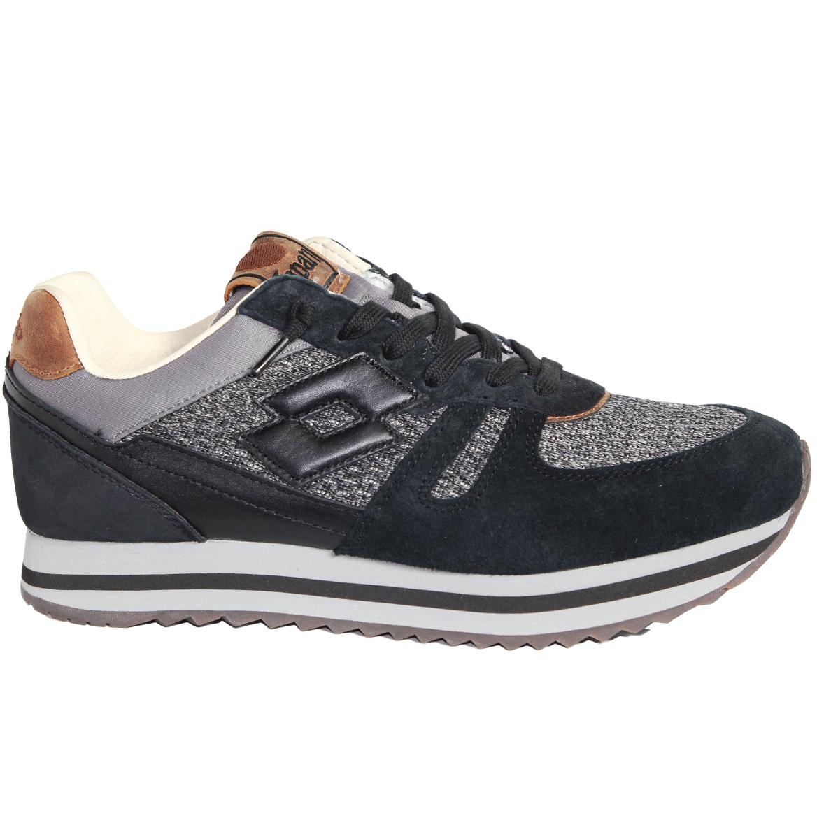zapatos hombres LOTTO LEGGENDA RHAZHE T0827 negro gris ORIGINALE