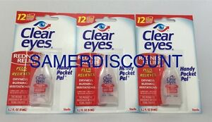 Clear Eyes Redness Relief Pack of 3 0.2 FL,OZ ( 6 ml) Pack(12 HRS)  EXP 2020 300742541282