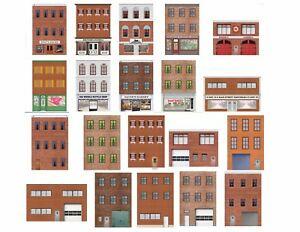 1:87 HO Scale Flat Front Buildings for Models and Dioramas - 20 Total