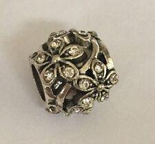 Clear Crystal DAISY Flower Charm Bead For European Bracelets Silver Plated 1pc