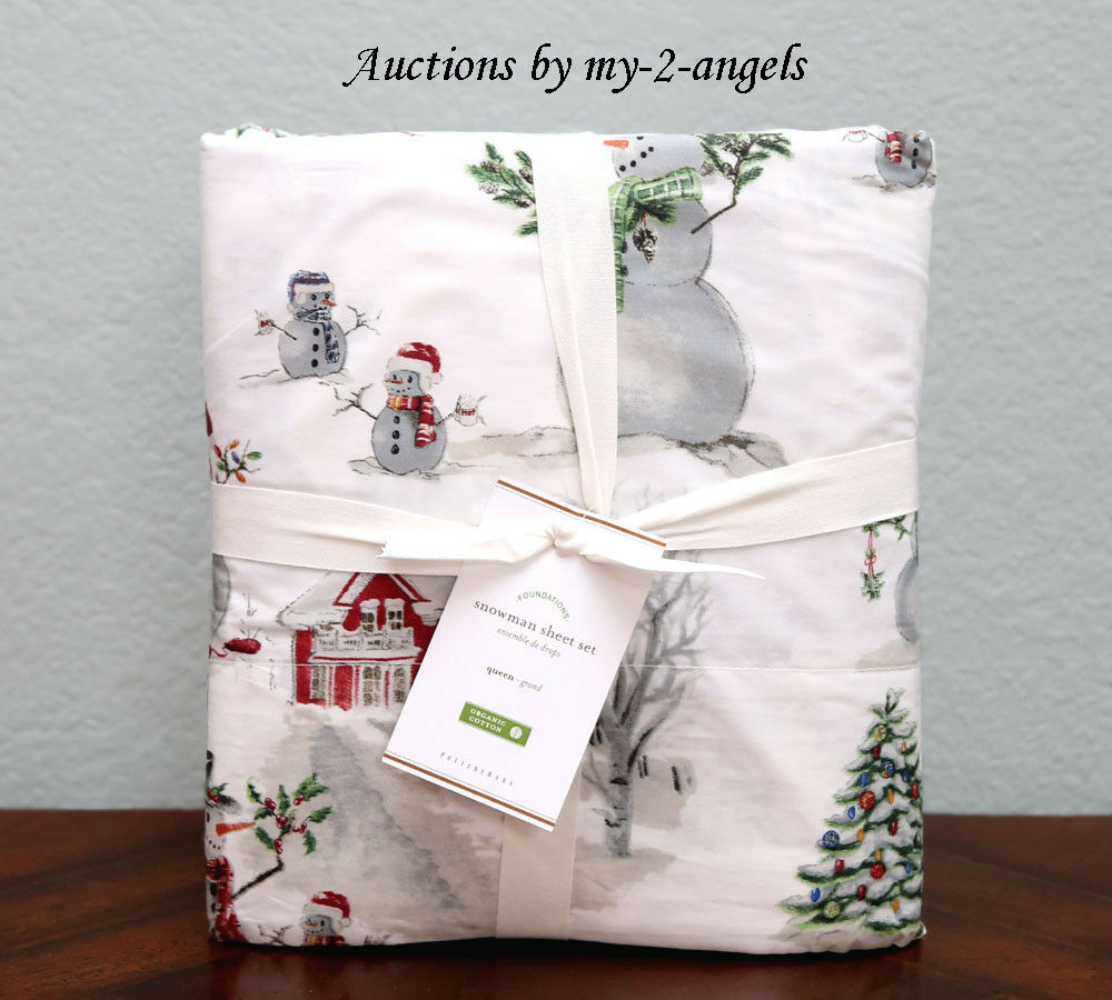 NEW Pottery Barn SNOWMAN Organic Cotton Percale Queen Sheet Set Christmas Winter