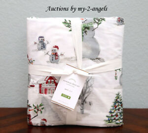 NEW-Pottery-Barn-SNOWMAN-Organic-Cotton-Percale-Queen-Sheet-Set-Christmas-Winter