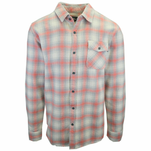 Rip Curl Men's Strawberry Grey Cream Plaid L/S Flannel Shirt (S04)