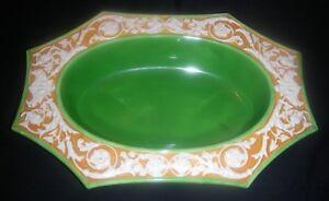 Agressif Vintage Tchécoslovaquie Céramique Green-orange 3d Ornement Légumes Ovale Bol