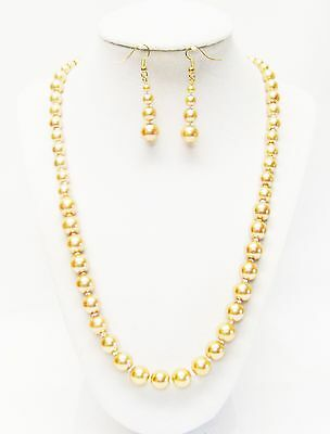 Mixed Sizes Gold Glass Pearl Necklace & Earrings Set