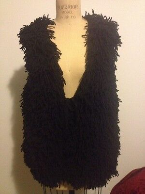 PENCEY Womens Black Knit Wool Fringe Shag Long Vest Jacket Coat Sz M
