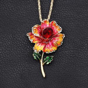 Betsey-Johnson-Enamel-Crystal-Flower-Pendant-Women-039-s-Necklace-Brooch-Pin