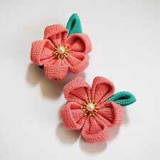 Handmade Cute Traditional Japanese Hair Clip Pink Pin Kanzashi Sakura Flower