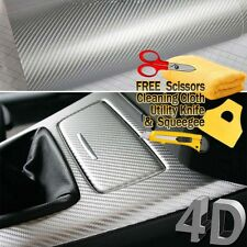 "60"" x 60"" Premium Gloss Silver Carbon Fiber 4D Vinyl Film Wrap Air Bubble Free"