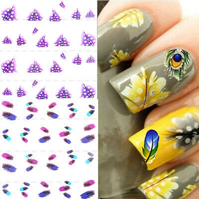 Nail Art Sticker Water Transfer Stickers 3D Decoration Black Flower Decals Tips