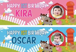 2-Striscione-di-Compleanno-Personalizzata-Foto-Bambini-Baby-Fattoria-Animale-Festa-Decorazione