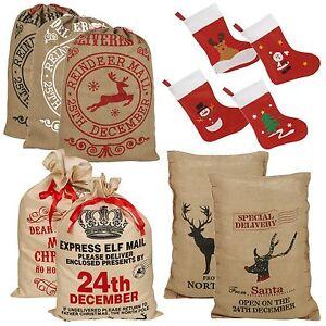 GRANDE-Babbo-Natale-sacco-Vintage-Hessian-Calza-Regalo-di-Natale-presenta-Borsa-Nuovo