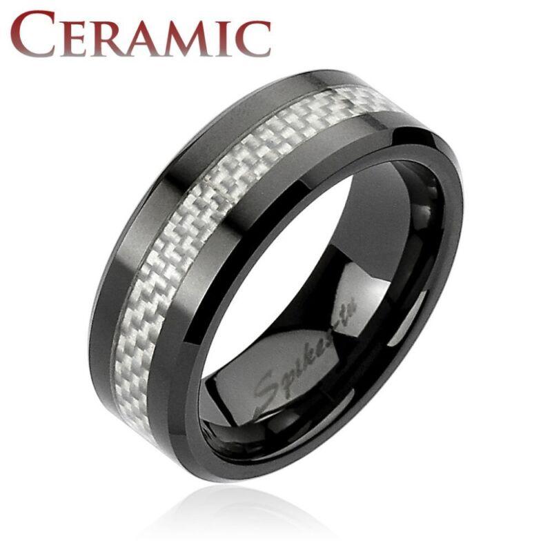 Man Ring Ceramic Black Fiber Carbon