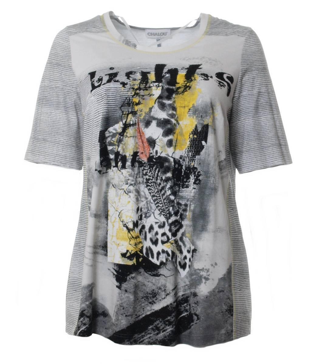 Chalou Mode Damen T-Shirt Gelb Grau große Größen 46 48 50 52 54 56 58 60