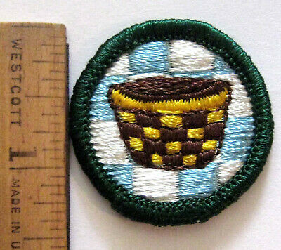 WEAVING /& BASKETRY Junior Girl Scout Badge 1960-70s HTF Patch NEW Combine Ship